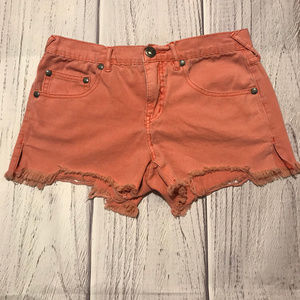 Coral Pink Free People Cut-Off Jeans
